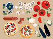 Flat pizza ingredients set entire and cut into pieces: olives, mushrooms, tomato, salami, mozzarella, eggplant. Two stock illustration