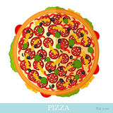 Flat pizza isolated on white Royalty Free Stock Photos