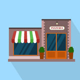 Flat pizzeria restaurant building block infographic concept. Street corner fast food pizza dinner. Royalty Free Stock Photo
