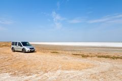 Flat plain, steppe, salt, salt lake, heat and sky - a typical la. Ndscape on the Arabatskaya arrow, the Ukrainian part of the Crimea Stock Photography