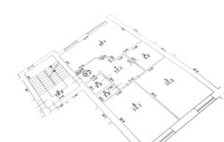 Flat plan. Black and white flat floor plan Stock Image