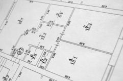 Flat plan. Black and white flat floor plan Stock Photos