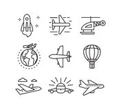 Flat plane icons. Vector black flat plane icons on white Stock Photos