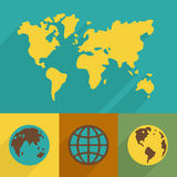 Flat Planet symbol set Royalty Free Stock Image