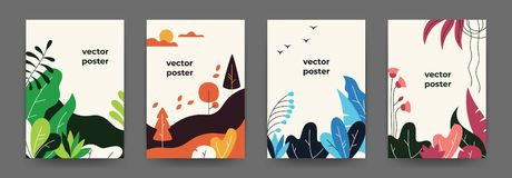 Flat plant posters. Gradient abstract geometric banners with copy space floral frames, jungle leaves and plants. Vector