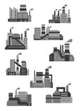Flat plants and factories icons Royalty Free Stock Image