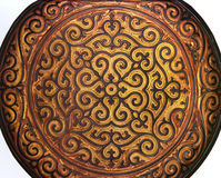 Flat plate in Chinese lacquer Tixi drawings Stock Photography