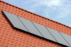 Flat plate solar thermal collectors Stock Photos