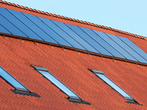 Flat plate solar thermal collectors Royalty Free Stock Images