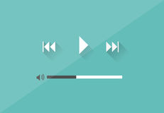 Flat Player Application in Stylish Colors Vector Royalty Free Stock Photo