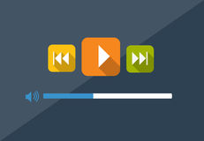 Flat Player Application in Stylish Colors Vector Stock Images