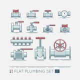 Flat plumbing icon set. Quality flat  icons set of sanitary equipment Royalty Free Stock Photo