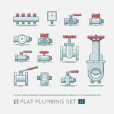 Flat plumbing icon set. Quality flat icons set of sanitary equipment stock illustration
