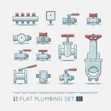 Flat plumbing icon set. Quality flat  icons set of sanitary equipment Royalty Free Stock Images