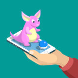 Flat Pokémon Go vector illustration man smartphon. Flat isometric mobile game dragon catch vector illustration. Human hand hold smartphone, creature sits Stock Photo