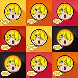 Flat pop art exclaim girl. With speech bubble - OH MY GOD, set colored design elements. Vector eps 8 Stock Image