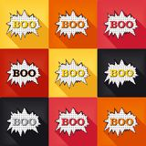 Flat pop art speech bubble - BOO Stock Photo
