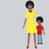 Flat portrait of happy family with mother and child. Royalty Free Stock Photos