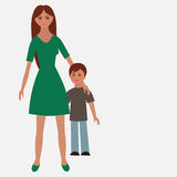 Flat portrait of happy family with mother and child. Royalty Free Stock Image