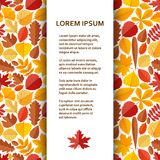 Flat poster or banner template with autumn leaves. Vector illustration royalty free illustration