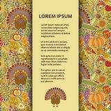 Flat poster or banner template with autumn pattern and turkey Royalty Free Stock Photos
