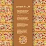 Flat poster or banner template with pizza pieces. Vector illustration stock illustration