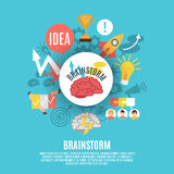 Flat Poster With Brainstorm Icons. Flat poster composed of different brainstorm icons including red brain in center on blue background vector illustration Stock Photography