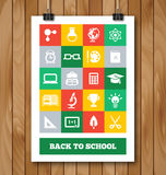 Flat Poster with Education and School Supplies Stock Images