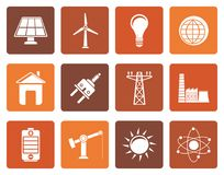 Flat power, energy and electricity icons. Vector icon set Royalty Free Stock Photography