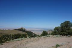 Flat prairie land from a mountain summit. Royalty Free Stock Photos