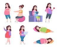 Flat pregnant woman. Healthy exercises for moms, pregnancy diet, happy young mom reading, sleeping and resting. Vector. Set stock illustration