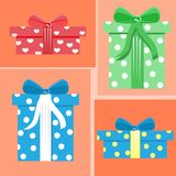 Flat Present Boxes set for holidays. royalty free stock photography