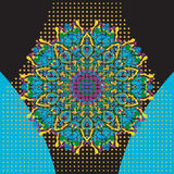 Flat Print with mandala in oriental style Royalty Free Stock Photo