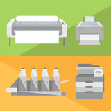 Flat printers set. Set of printers illustrations in flat style. Laser-jet, ink-jet, large format printer and offset machine icons Royalty Free Stock Images