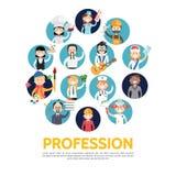 Flat Profession Avatars Set Stock Image