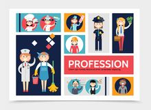 Flat Profession Characters Infographic Template Royalty Free Stock Photography