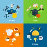 Flat profession compositions Royalty Free Stock Image