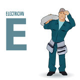 Flat  profession Letter E - electrician Royalty Free Stock Photos