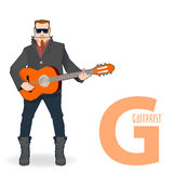 Flat  profession Letter G - guitarist. On a white background Royalty Free Stock Photo