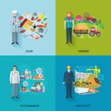 Flat Profession Set. Profession design concept set with cooker farmer engineer flat icons isolated vector illustration Stock Image