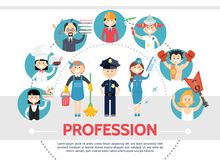 Flat Professional Workers Concept. With waitress chef teacher engineer painter sportsman musician maid policeman stewardess isolated vector illustration Stock Photo