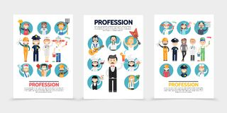 Flat Professions Brochures Stock Photography
