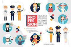 Flat Professions Infographic Concept Stock Photo