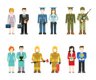 Flat professions uniform: army, police, doctor, fireman, teacher. Military army officer commander businessman policeman doctor fireman teacher people in uniform Royalty Free Stock Image