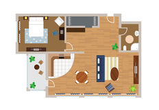 Flat project with furniture, vector stock illustration