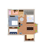 Flat project with furniture, vector Royalty Free Stock Photography
