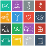 Flat Prom Icons Stock Image