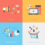 Flat Promote, Review Goods, Sales Stats, Shopping Cart Vector Royalty Free Stock Photo