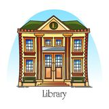 Flat public library building in thin line. Facade of education structure. Exterior or outdoor view at knowledge or academic construction. Town or city landmark royalty free illustration