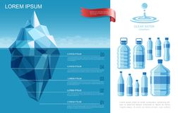 Flat Pure Water Infographic Template stock illustration